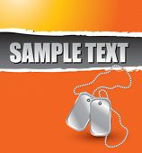 dog tags on orange ripped banner