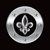 stock photo of fleur de lis  - fleur de lis silver star ring - JPG