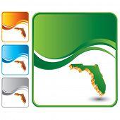 forma de estado de Florida em fundos de onda multicolorida