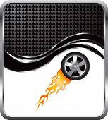 flaming racing tire on black checkered wave background