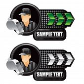 sports referee green and white arrow nameplates