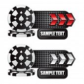 stacked casino chips red and white arrow nameplate banners