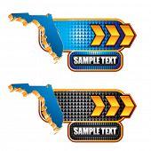 forma de estado de Florida em banners de placa de identificação de seta de ouro