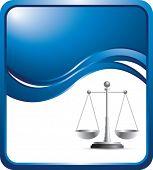 justice scales blue wave backdrop