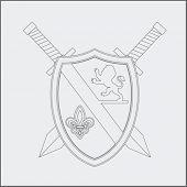 royal shield and swords drawing
