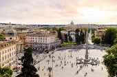 panoramic view of Piazza del Popolo and St. Peters Basilica, Rome, Italy poster