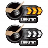hockey stick and puck gold and white arrow nameplates
