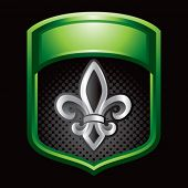fleur de lis green shiny display