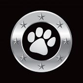 stock photo of paw-print  - paw print silver star round frame - JPG
