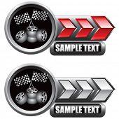 quadriculada bandeiras e pneus indicadoras de seta vermelha e branca