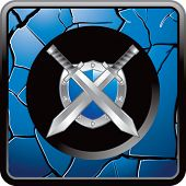 swords and shield blue cracked web icon