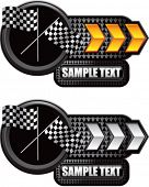 crossed checkered flags gold and white arrow nameplate