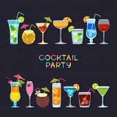 Tropical Cocktails, Juice, Wine And Champagne Glass Set On Black Background. Vector Hand Drawn Illus poster