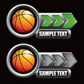 bolas de basquete verdes e cinza indicadoras de seta