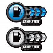 gas pump icon blue and white arrow nameplates