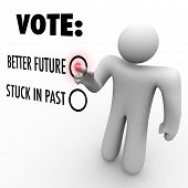 A man presses a button beside the word Vote and choosing between a better future and being stuck in