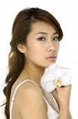beautiful asian Woman und orchid