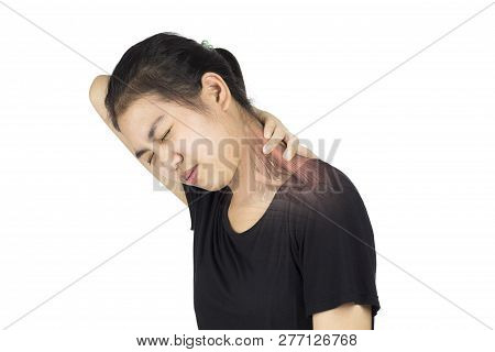 Neck Muscle Pain White Background