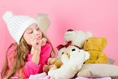 Kid Little Girl Play With Soft Toy Teddy Bear Pink Background. Bears Toys Collection. Teddy Bears Im poster