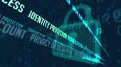 Identity Protection And Data Encryption In Cyber Space 3d Illustration. Internet Communication And C poster