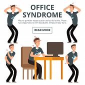 Office Syndrome Symptoms Of Set Vector Illustration. Syndrome Body Pain Exercise poster