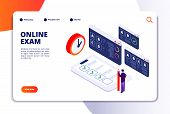 Online Exam Isometric Concept. Internet Questionnaire, Quiz Application For Student Testing. Survey  poster