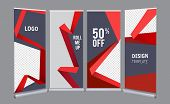 Roll Up Banners. Advertizing Stand Office Mall Presentation Vertical Poster Vector Template. Illustr poster