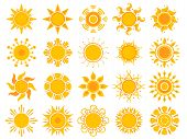 Yellow Sun Icon. Orange Weather Sunshine Summer Vector Abstract Symbols Isolated. Illustration Of Su poster