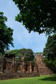 Wat Phra Non With Buddha Statues Historical Park In Kamphaeng Phet, Thailand (a Part Of The Unesco W poster