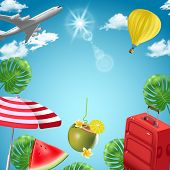 Vector Background With Beach And Travel Elements. Tourism. Traveling Around The World. Background Fo poster