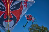 The Chinese Tradition Peking Opera Styles Of Makeup Kite In Sky. All Of The Patterns In This Photo W poster