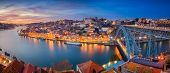 Porto, Portugal. Panoramic Cityscape Image Of Porto, Portugal With The Famous Luis I Bridge And The  poster