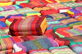 Pillow, Traditional Native Thai Style Pillow, Colorful Thai Style Pillow, Many Various Pillow Pile S poster