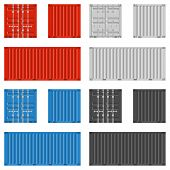 Cargo Container For Shipping In Flat Style. Red, Blue, White And Black Colors. Front, Back And Side  poster