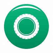 Single Tire Icon. Simple Illustration Of Single Tire Vector Icon For Any Design Green poster