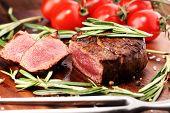 Barbecue Rib Eye Steak. Black Angus Prime Meat Steaks Machete, Striploin, Rib Eye, Tenderloin Fillet poster