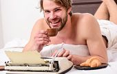 Daily Routine Of Writer. Writer Handsome Author Used Old Fashioned Manual Typewriter. Man Writer Lay poster
