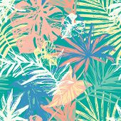 Hand Drawn Grunge Textured Tropical Leaves Seamless Pattern. Tropical Leaf Silhouette Elements Backg poster