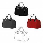 Red Ladys Bag With Handles. Ladies Accessory Items.  Woman Clothes Single Icon In Cartoon Style Vect poster