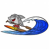 Shark Paddleboarding - A Vector Cartoon Illustration Of A Shark Paddle Boarding. poster