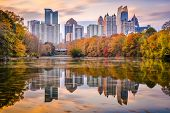 Atlanta, Georgia, USA Piedmont Park skyline in autumn on Lake Meer at dusk. poster