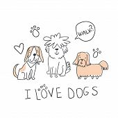 Set Of Cute Handdrawn Dogs Line Illustrations Isolated On White With Sign And Speech Bubble. Cute Sk poster
