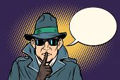 Spy Shhh Gesture Man Silence Secret. Comic Cartoon Pop Art Retro Vector Illustration Drawing poster