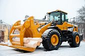 Yellow Wheel Front End Log Loader. Forestry Equipment For Moving Wood And Other Materials. Hydraulic poster