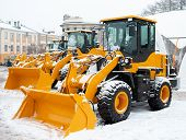 Yellow Wheel Front Loaders. Construction And Handling Equipment. Heavy Diesel Tractor, Construction  poster