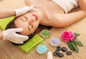 Close-up Of A Young Woman Getting Spa Treatment At Beauty Salon. Spa Face Massage. Facial Beauty Tre poster