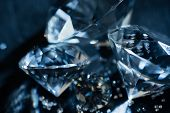 Close Up Of Transparent Pure Diamonds On Black Background poster