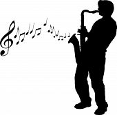 picture of sax  - A vector sax player background with notes - JPG