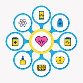 Illustration Of 9 Medicine Icons Colored Line. Editable Set Of Apple, Vitamins, Heartbeat And Other  poster