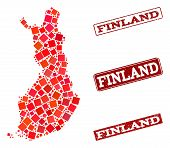 Geographic Composition Of Dot Mosaic Map Of Finland And Red Rectangle Grunge Seal Imprints. Vector M poster